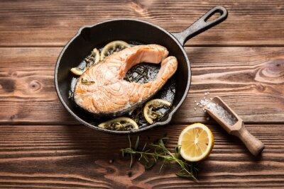 Adesivo Fatia de salmão frito