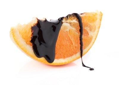 Adesivo fatias de laranja com chocolate derretido tópicos