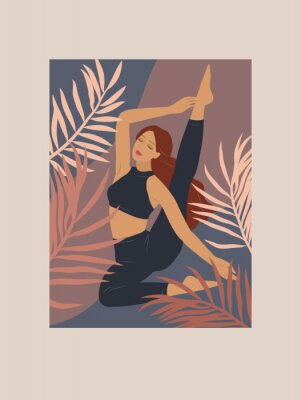 Adesivo Feminine concept. Cute girl doing yoga poses. Lifestyle by young woman. Fashion illustration by femininity, beauty and mental health. Vector cartoon