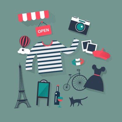 Adesivo Feriados e férias apartamento ícones do vetor forma francesa e arte