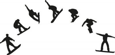 Adesivo Fila, snowboard, silhuetas, pular
