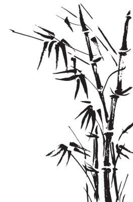Adesivo Filiais de bambu isolado no fundo branco. Vetor