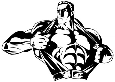 Adesivo fisiculturista muscular rasga camisa