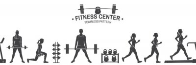 Adesivo Fitness club sem costura padrão ou plano de fundo. Ilustração vetorial.