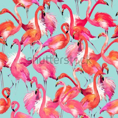 Adesivo flamingo birds seamless background. Watercolor tropical nature pattern.