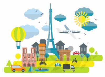 Adesivo Flat design illustration with Eiffel tower in Paris town