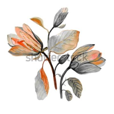 Adesivo Flor de magnólia linda aquarela mão desenhada. Composição de flores verdes de outono. Buquê de outono.