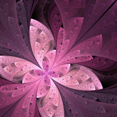 Adesivo Flor ou borboleta diagonal bonita do fractal no vitral