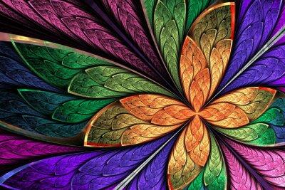 Adesivo Flor ou borboleta multicoloridos bonitos do fractal no gl