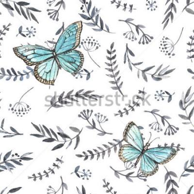 Adesivo Floral aquarela monocromático transparente com borboletas. Pintura a mão. Aquarela Padrão sem emenda para tecido, papel e outros projetos de impressão e web.