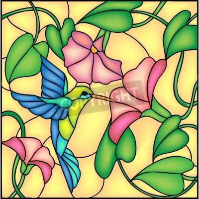 Adesivo Floral composition with tropical flowers and flying humming bird   colibri, vector illustration