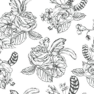Adesivo Floral, seamless, fundo, rosas, penas