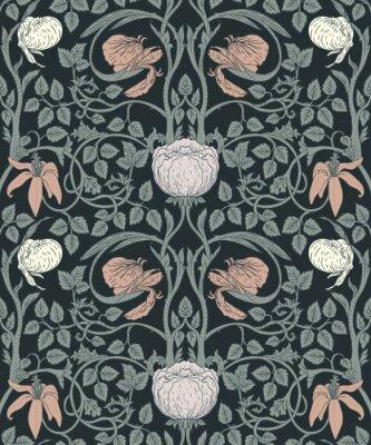 Adesivo Floral vintage padrão sem emenda para papéis de parede retrô. Flores Vintage Encantadas. Artes e Ofícios movimento inspirado.