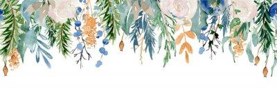Adesivo Floral winter seamless border illustration. Christmas Decoration Print Design Template
