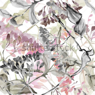 Adesivo Flores abstratas. Aquarela sem costura padrão.