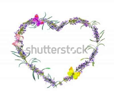 Adesivo Flores de lavanda e borboletas. Moldura de coração floral aquarela para dia dos namorados, casamento