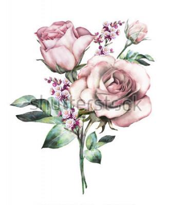 Adesivo flores em aquarela. ilustração floral, flor em tons pastel, rosa. ramo de flores isolado no fundo branco. Folha e botões. Composição bonita para casamento ou cartão de felicitações. ramalhete