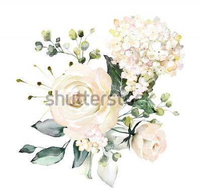 Adesivo flores em aquarela. ilustração floral, folha e botões. Composição botânica para casamento ou cartão de felicitações. ramo de flores - rosas de abstração, hortênsia