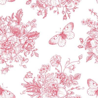 Adesivo Flores padrão sem emenda e borboletas.