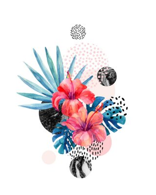Adesivo Flores tropicais de aguarela em fundo geométrico com marmoreio, texturas de doodle
