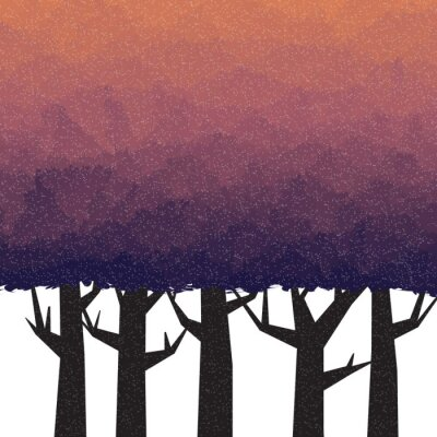 Adesivo Floresta espessa no tempo crepuscular