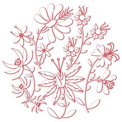 Adesivo Folk de dia de celebração e recorte de bordado inspirado pela forma de cultura da Europa Oriental em forma de branco com elementos florais com traço vermelho com efeito 3D
