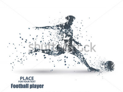 Adesivo Football player, kick a ball, particle divergent composition, vector illustration