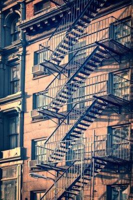 Adesivo Fora escadas escada de incêndio metal, New York City, Processo do vintage