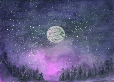 Adesivo Forest in the fog, hills. Silhouette of flying birds. Moon in starry sky. Hand-drawn, watercolor texture. Purple background.