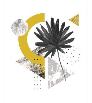 Adesivo Formas geométricas abstratas de verão, folha exótica. Os triângulos encheram-se com o mármore, texturas do grunge, garatujas, folha de palmeira do fã da aquarela. Pintados à mão arte geométrica ilustr