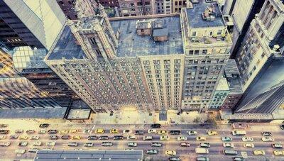 Adesivo Foto do vintage de ruas de New York do telhado
