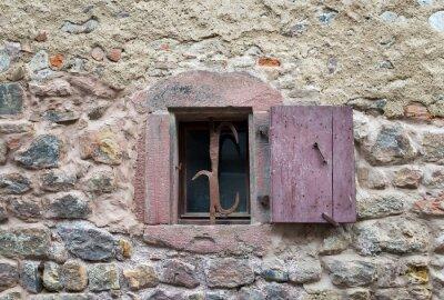 Adesivo Francês, Janela, fechado, antigas, medieval, madeira, obturadores,