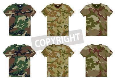 2a4fd0fcd5835 Adesivo Frente Militar Camisetas de gola V Men s e traseira modelo Vector
