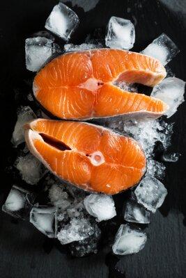 Adesivo Fresco, pedaços, salmão, gelo