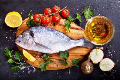 Adesivo Fresco, peixe, dorado, legumes