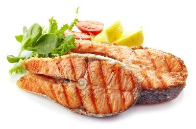 Adesivo frescos grelhados fatias de salmão bife