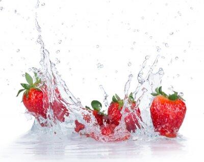 Adesivo Fresh Strawberries with water splash