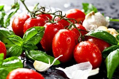Adesivo Frische tomaten mit und basilikum knoblauch