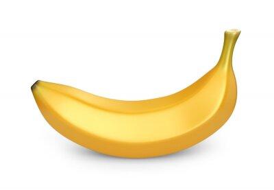 Adesivo Fruta da banana, ícone 3D. Ilustração isolada no fundo branco