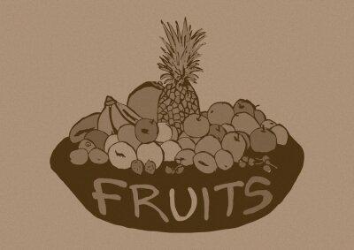 Adesivo Frutas Vintage cesta