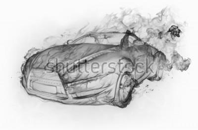 Adesivo Fumo carro isolado em torno do fundo branco. Projeto original do carro.