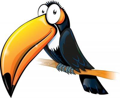 Adesivo fun toucan cartoon isolated on white.