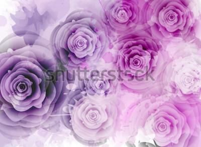 Adesivo Fundo abstrato com rosas e elementos de respingo do grunge