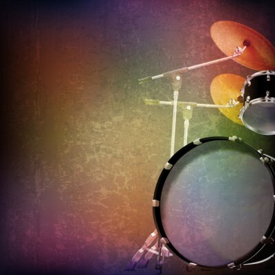 Adesivo Fundo abstrato do grunge com kit de bateria