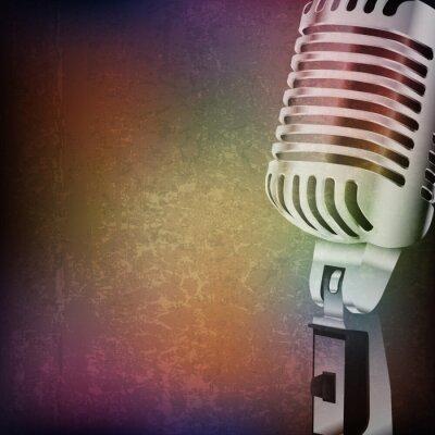 Adesivo fundo abstrato do grunge com microfone retro