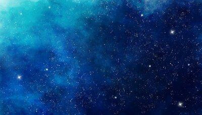 Adesivo Fundo azul espaço aquarela. Pintura de ilustração