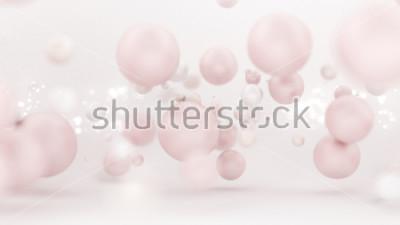 Adesivo Fundo branco brilhante com balões. Ilustração 3d, rendição 3d.