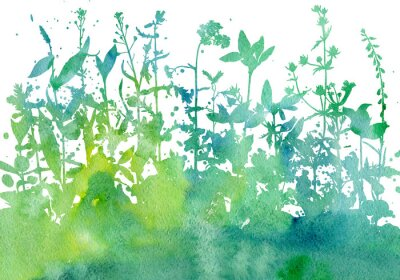 Adesivo Fundo com desenho de ervas e flores
