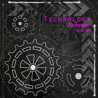 Adesivo Fundo da tecnologia na placa de giz.