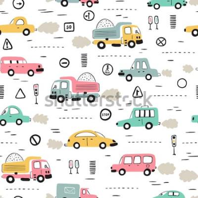 Adesivo Fundo de transporte dos desenhos animados para crianças. Padrão sem emenda de vetor com doodle carros de brinquedo e sinais de trânsito